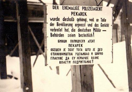 Други светски рат, Трг Краља Милана, табла постављена поред жртве вешања